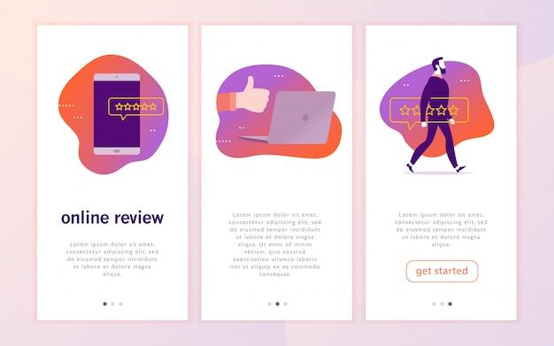 Design de conceito de interface de aplicativo móvel com revisão on-line. gadgets: laptop, smartphone. dê uma classificação por estrelas, conceito de feedback positivo. polegar para cima, estrelas linha de ícones.
