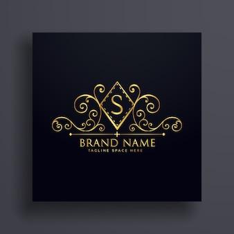 Design de conceito de logotipo de luxo com a letra s