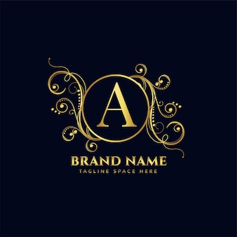 Design de conceito de logotipo de luxo em estilo floral dourado