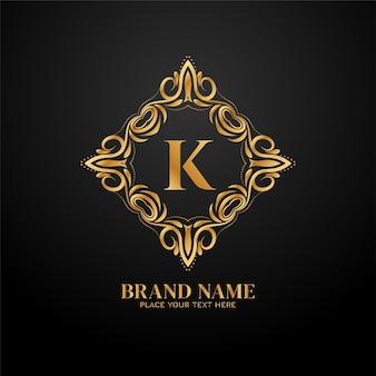 Design de conceito de logotipo de marca de luxo golden letter k