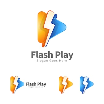 Design de conceito de logotipo de mídia de reprodução em flash moderno