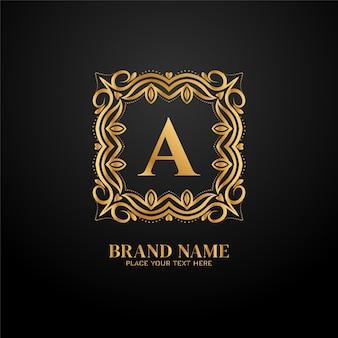 Design de conceito de logotipo dourado de marca de luxo letter a