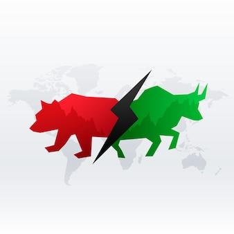Design de conceito de mercado de ações com touro e urso para lucro e perda
