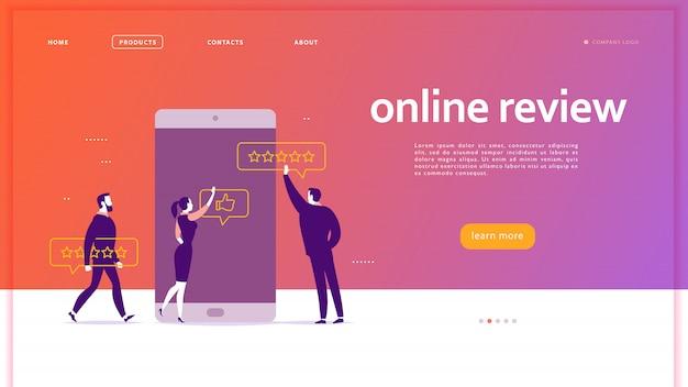 Design de conceito de página da web com o tema de revisão on-line. pessoas do escritório na tela do smartphone, dando estrelas, feedback e classificação. polegar para cima, estrelas linha de ícones. página de destino,