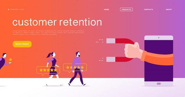 Design de conceito de página da web, tema de retenção de clientes. as pessoas dão feedback positivo à classificação por estrelas, mão humana, ímã. modelo de site de aplicativo móvel da página de destino. ilustração de negócios. marketing de entrada