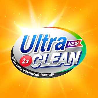 Design de conceito de publicidade em detergente para embalagem de produtos em cor amarela e laranja