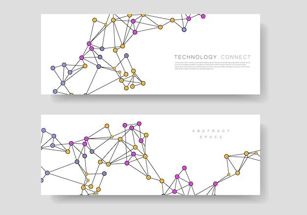 Design de conexão de tecnologia abstrata minimalista e modelos de banner de negócios com linhas e pontos