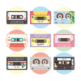 Design de conjunto de ícones de cassetes retrô, fita vintage de música e tema de áudio.