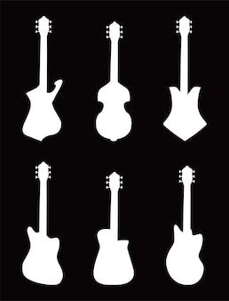 Design de conjunto de ícones de estilo preto e branco de instrumentos de guitarra