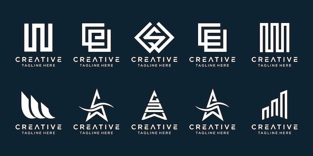 Design de conjunto de ícones do logotipo w iniciais para negócios de tecnologia de esporte de moda simples