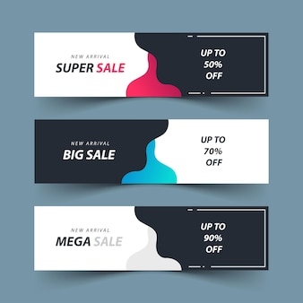 Design de conjunto de modelos de banner de venda