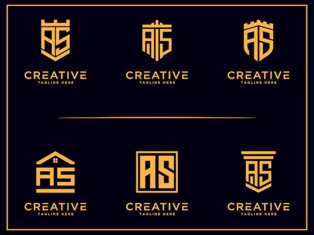 Design de conjunto de modelos ícone inicial da letra as monograma