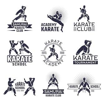 Design de conjunto de rótulos de desporto marcial, monocromático emblemas definir isolado no branco