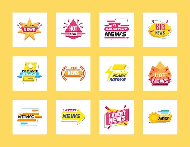 Design de conjunto de símbolos de banners e rótulos de notícias, comunicação do canal de tecnologia e ilustração do tema da tv