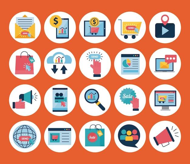 Design de conjunto de símbolos de estilo plano de marketing digital, comércio eletrônico e ilustração de tema de compras online