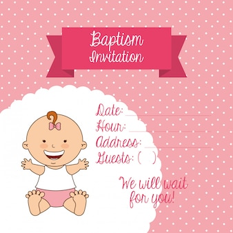 Design de convite de batismo