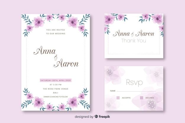 Design de convite de cartão de casamento liso