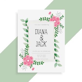 Design de convite de cartão lindo casamento floral