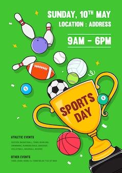 Design de convite de cartaz de dia de esportes