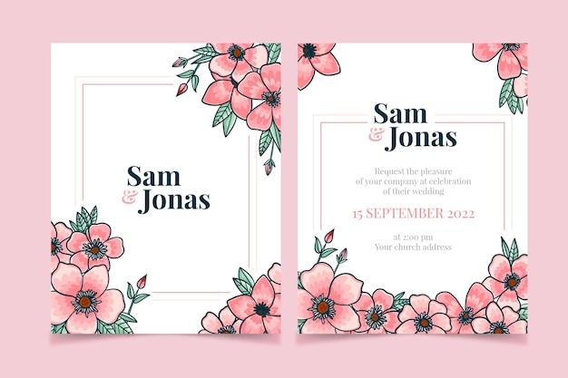 Design de convite de casamento colorido desenhado à mão