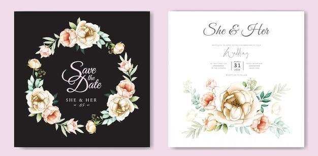 Design de convite de casamento com aquarela floral e folhas