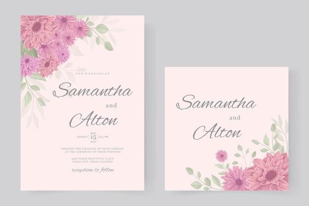 Design de convite de casamento com flor de crisântemo rosa