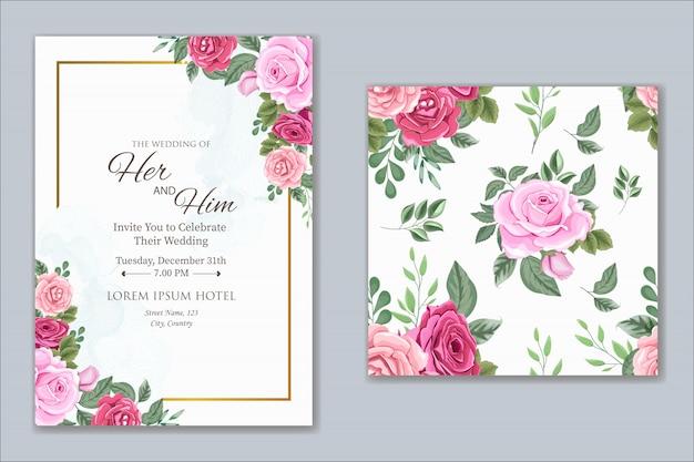 Design de convite de casamento com lindas flores e folhas