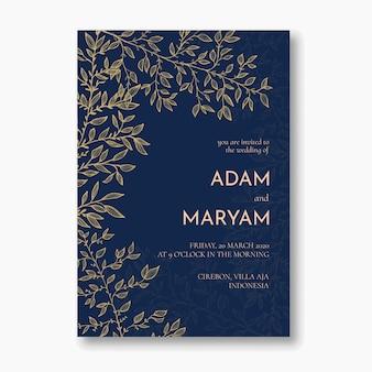 Design de convite de casamento de luxo simples folha floral simples contorno floral mão desenhada