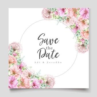 Design de convite de casamento elegante com motivo floral