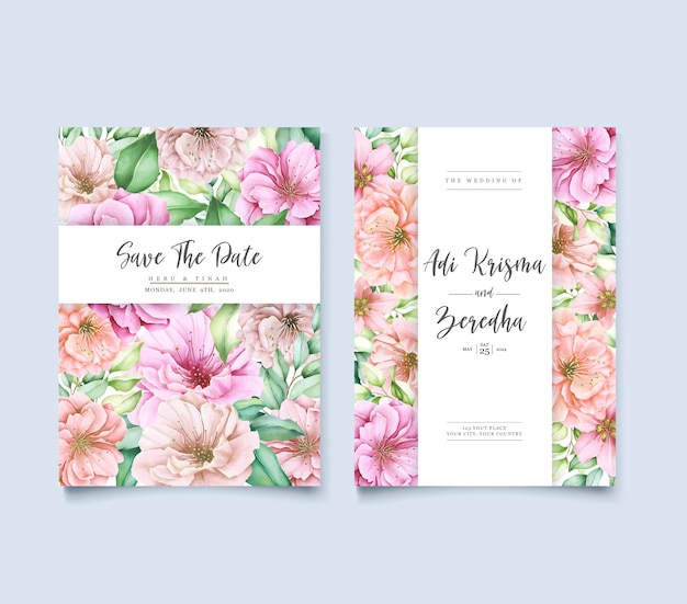 Design de convite de casamento elegante fundo com flores e folhas