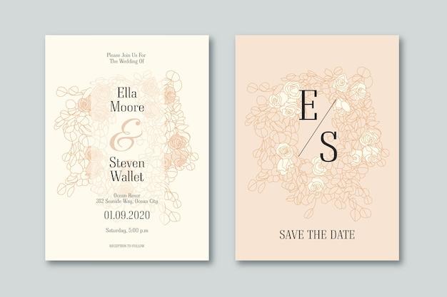 Design de convite de casamento elegante