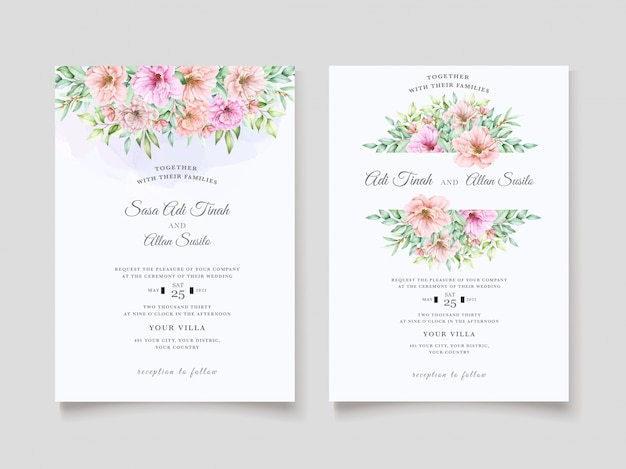 Design de convite de casamento floral aquarela elegante