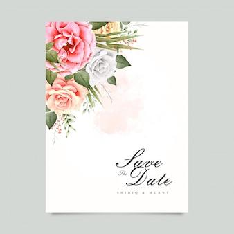 Design de convite de casamento floral em aquarela