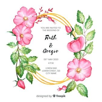 Design de convite de casamento floral frame