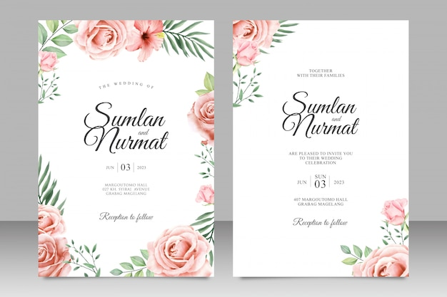 Design de convite de casamento floral lindo