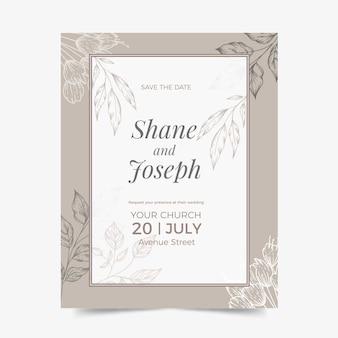 Design de convite de casamento mão desenhada