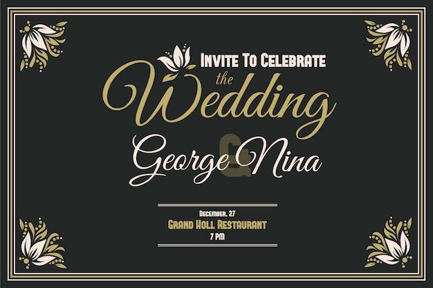 Design de convite de casamento retrô
