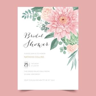 Design de convite de chá de panela com lindas dália e rosa