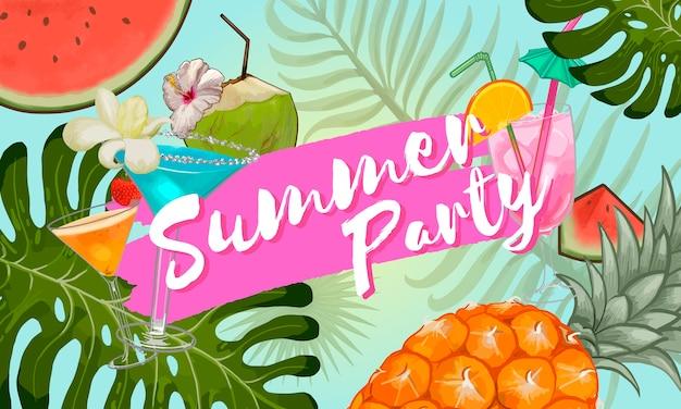 Design de convite de festa de verão tropical