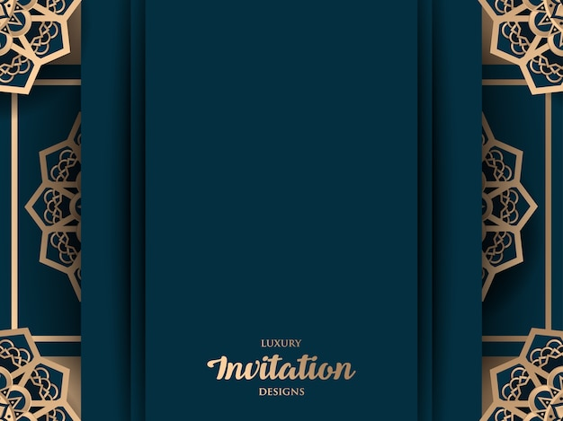 Design de convite de luxo com ornamento de ouro mandala