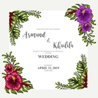 Design de convite de ornamento floral aquarela