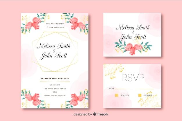 Design de convite lindo cartão de casamento