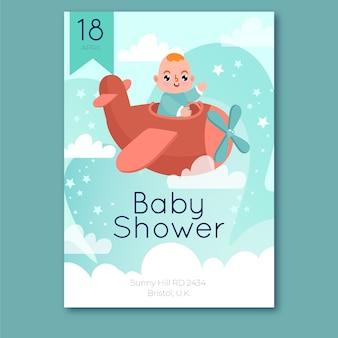 Design de convite para chá de bebê menino