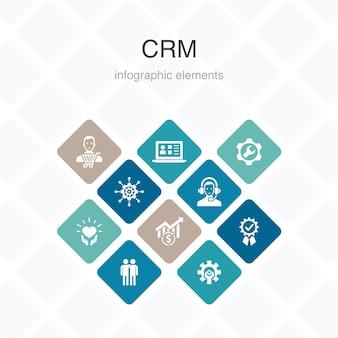 Design de cor de opção crm infográfico 10. cliente, gestão, relacionamento, ícones simples de serviço