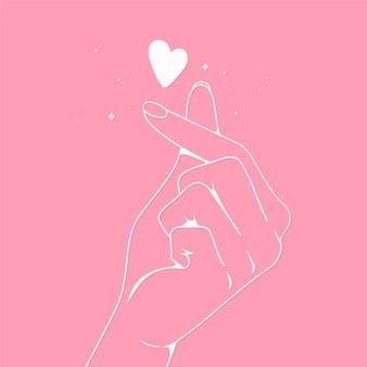 Design de coração de dedo desenhado à mão
