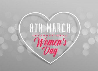 Design de coração dia das mulheres felizes em fundo cinza