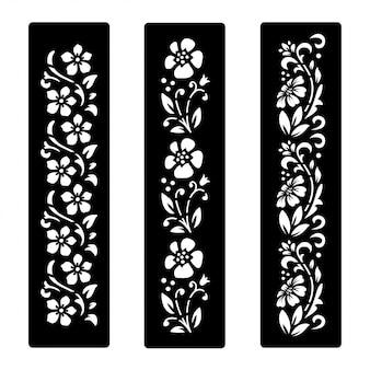 Design de corte de flores preto e branco