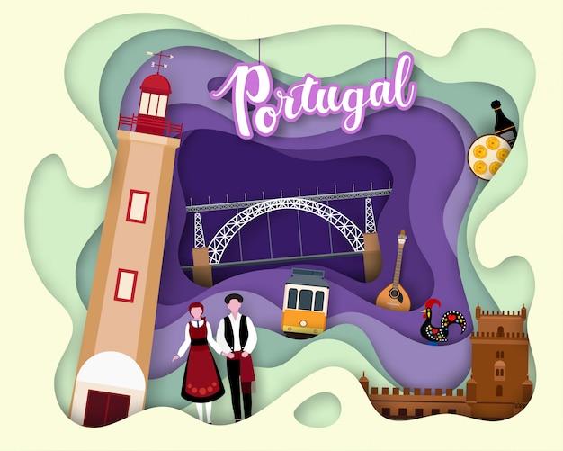 Design de corte de papel da tourist travel portugal
