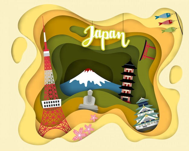 Design de corte de papel de turismo turístico do japão