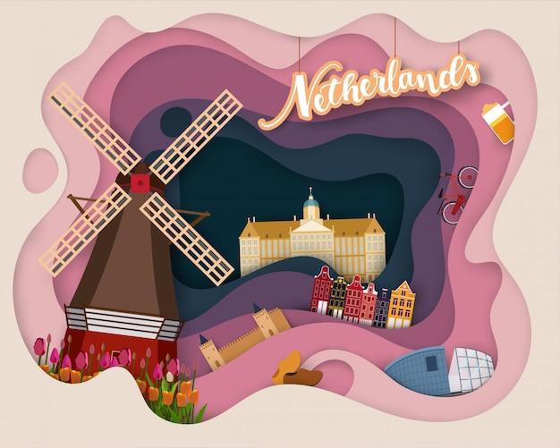Design de corte de papel de viagens turísticas na holanda